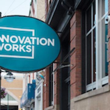 Innovation Works Sign, Front Entrance at 211 King St. London, Ontario